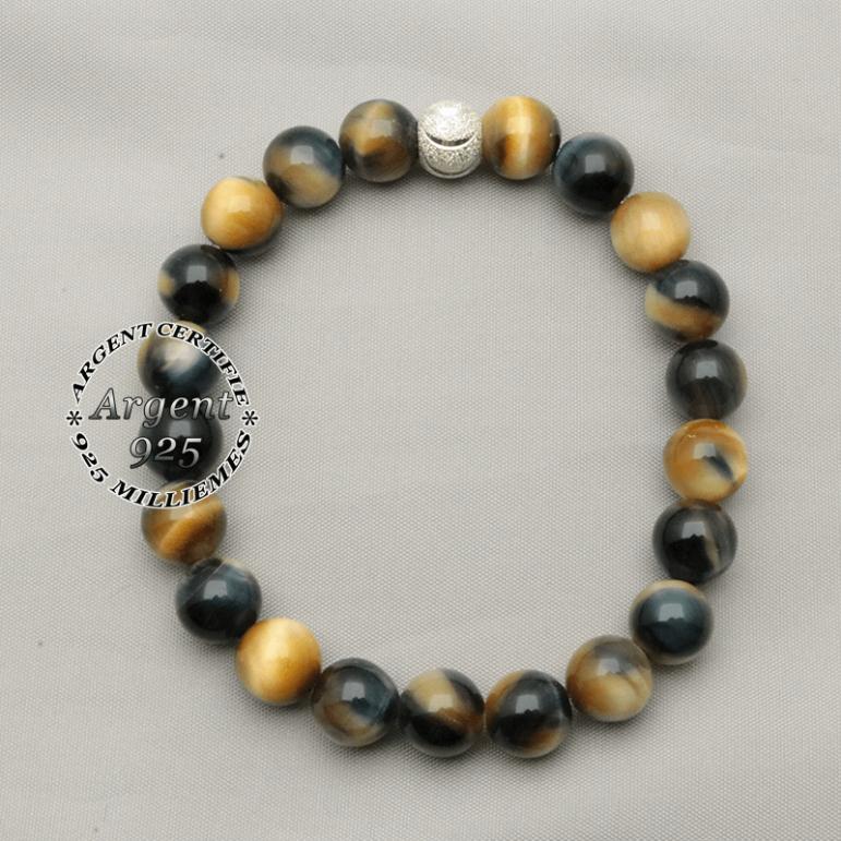 Bracelet naturel oeil de tigre bleu oeil de faucon naturel en 8 mm et boule strass sourire argent 925 pour femme