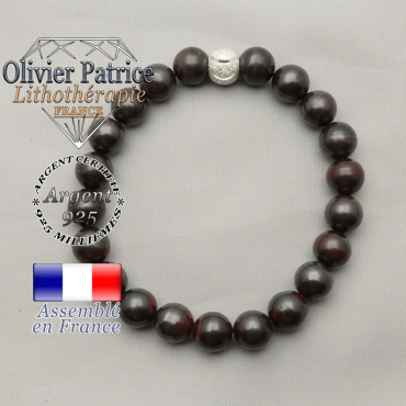 Bracelet oeil de fer naturel et strass sourire 8 mm argent 925 pour votre femme