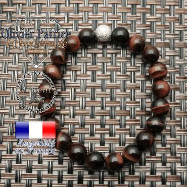 Bracelet oeil de taureau femme et argent 925 strass 8 mm