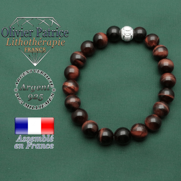Bracelet anneau des JO en argent 925 et boule strass ainsi que perles oeil de taureau naturelles