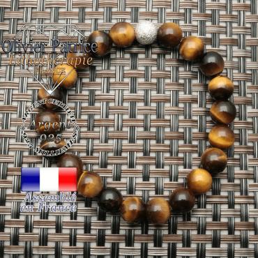 bracelet oeil de tigre et finition strass brillante   d'argent 925 en 8 mm
