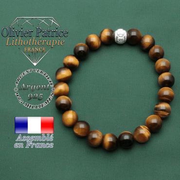 Bracelet des JO en oeil de tigre et strass brillant anneau argent 925