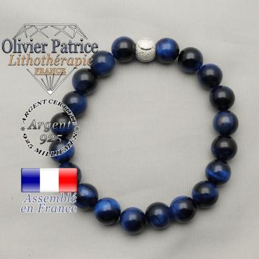 bracelet du sourire de femme argent 925 strass finition brillante et perles oeil de tigre bleues teintées