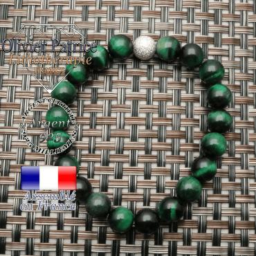 Bracelet oeil de tigre teinte verte et boule strass finition argent 925 unie