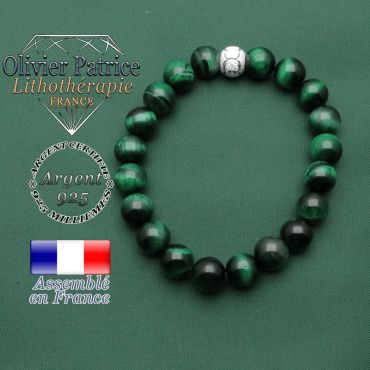 Bracelet femme protection oeil de tigre vert teinté et boule strass anneau argent 925 des JO