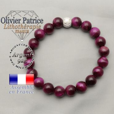 Bracelet du sourire oeil de tigre protection teinte violette et argent 925 brillant