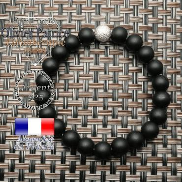 Bracelet onyx mat naturel contre le stress avec boule brillante strass unie argent 925