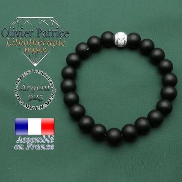 Bracelet naturel agissant contre le stress en onyx naturel couleur mate et argent 925 boule brillante anneaux JO
