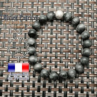 Bracelet naturel pierre d'aigle avec appret en argent 925 strass uni