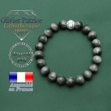 Bracelet pierre d'aigle naturelle en argent 925 finition strass anneaux des JO gravés