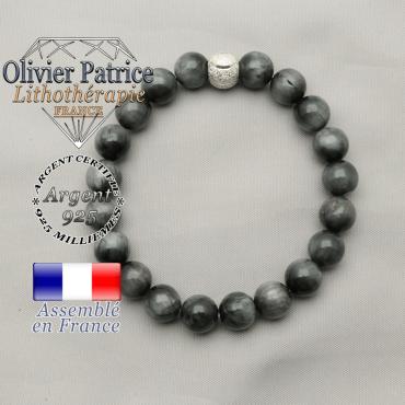 Bracelet en pierre naturelle pierre d'aigle en argent 925 avec une finition strass sourire argent 925
