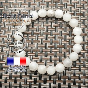 Bracelet en pierre de lune naturelle et boule strass unie argent 925