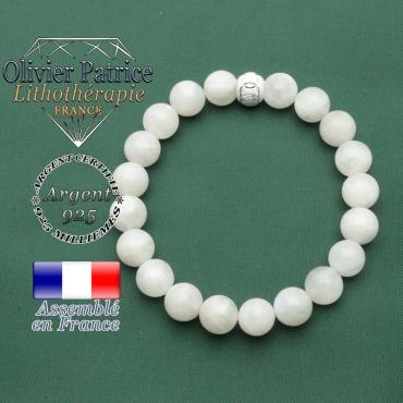 Bracelet naturel pierre de lune en argent 925 avec finition 8 mm strass anneaux gravés sport et JO