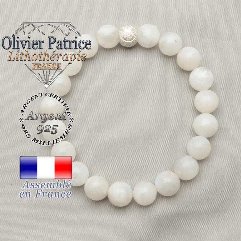 Bracelet pierre de lune en argent et pierre naturelle avec finition 8 millimètres sourire