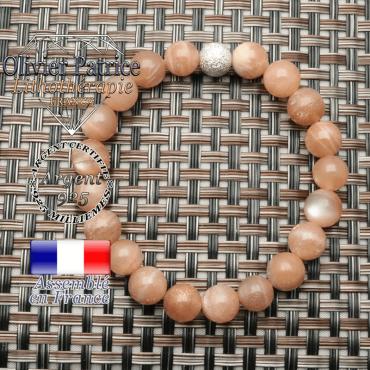 Bracelet pierre de soleil en argent 925 strass unie en 8 mm