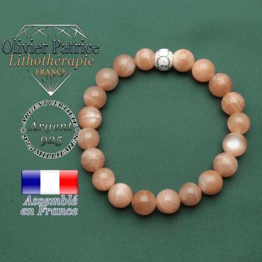 Bracelet naturel pierre de soleil pour aller de l'avant et finition strass ronde anneaux des JO