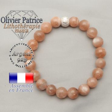 Bracelet sourire en pierre du soleil naturelle et apprêt 8 mm strass