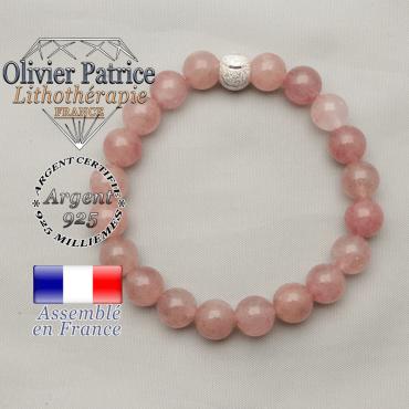 Bracelet pour femme en argent 925 strass sourire et quartz fraise naturelle