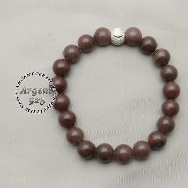 Bracelet femme naturelles pierres quartz vin et finition strass brillante d'argent 925 avec sourire