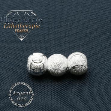 Boules argent 925 pour bracelet rhodochrosite à choisir parmi 3 symboles
