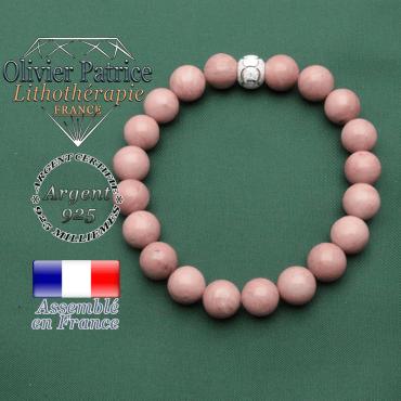 Bracelet lacher prise émotionnel en argent 925 strass anneaux gravés et pierres naturelles rhodochrosite