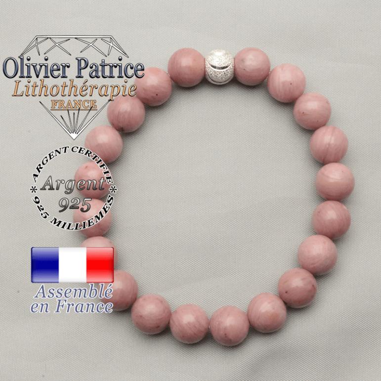 Bracelet sourire argent 925 et rhodochrosite naturelle en 8 mm