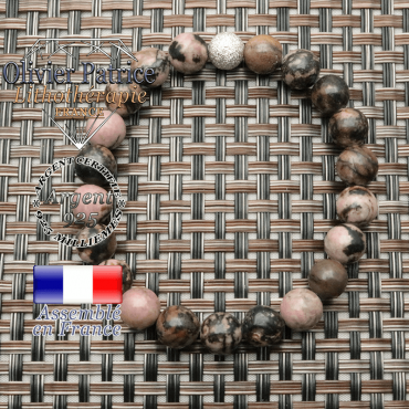 Bracelet strass en rhodonite naturelle et argent 925 en 8 mm
