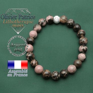 Bracelet naturel rhodonite pour le travail  le couple et les études en argent 925 boule anneaux