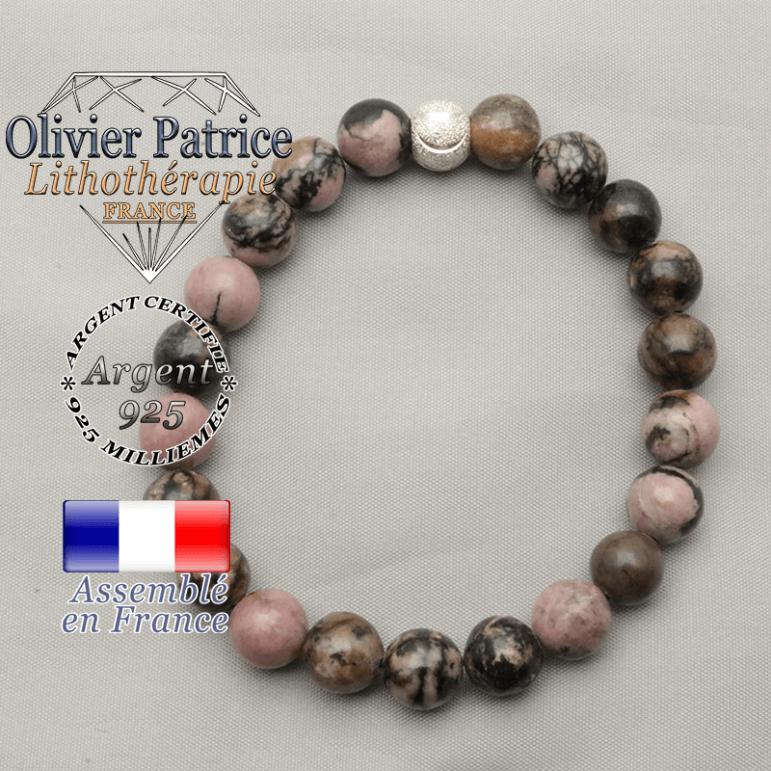 Bracelet sourire et rhodonite argent 925 strass brillant et pierres naturelles