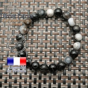Bracelet sardonyx naturel pour la protection de soi en 8 mm et boule brillante unie argent 925