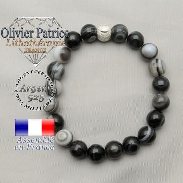 Bracelet naturel de protection en sardonyx et boule strass sourire argent 925