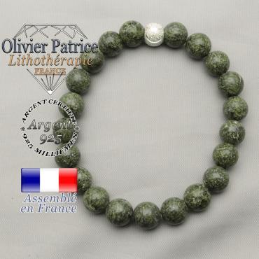Bracelet sourire en argent 925 strass et serpentine naturelle pierre de pardon