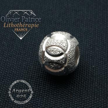 JO sport et anneaux gravés dans boule strass argent 925 pour finaliser votre bracelet naturel de perles