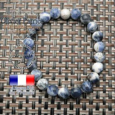 Bracelet de pierres naturelles rondes 8 mm en sodalite contre les peines et angoisses avec strass unie argent 925