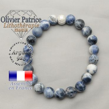 Bracelet sourire en sodalite pour agir face aux angoisses pour femme avec argent 925
