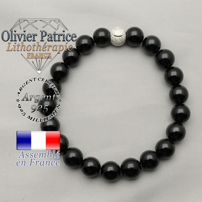 Bracelet naturel avec pierres spinelle et sourire argent 925 ronde strass