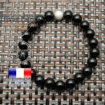 Tourmaline noire montée en bracelet 8 mm et argent 925 boule strass unie