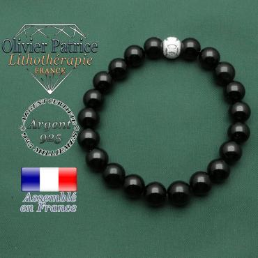 Bracelet de tourmaline noire pour la protection avec strass ronde et anneaux jeux olympiques gravés