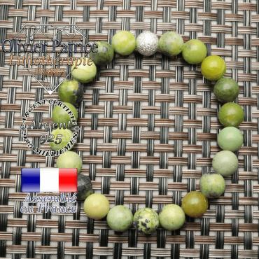 Bracelet turquoise africaine naturelle avec strass ronde unie argent 925