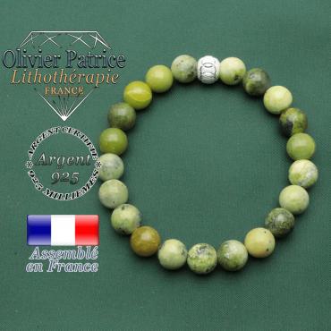 Bracelet strass argent 925 anneaux gravés JO avec turquoise africaine pour la protection
