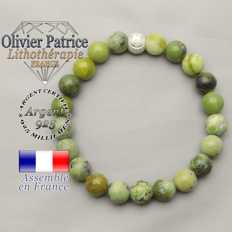 Turquoise naturelle africaine montée en bracelet femme protection et strass ronde argent 925 sourire