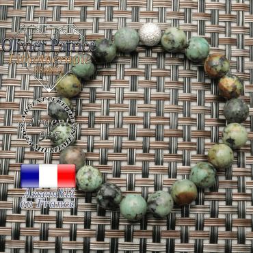 Bracelet turquoise naturelle bleue africaine en argent 925 unie strass