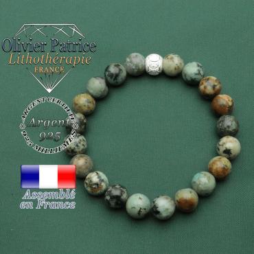 Bracelet naturel turquoise africaine bleue et boule anneaux des olympiques en argent 925 brillant