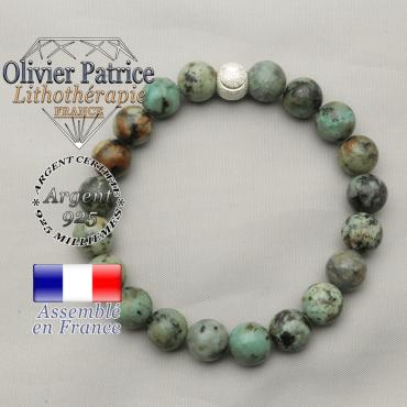 Bracelet femme africaine turquoise bleue naturelle et argent strass 925 sourire