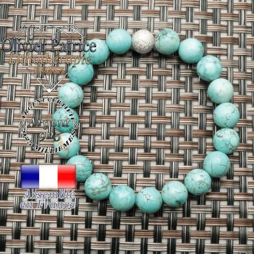 Bracelet turquoise naturel et strass argent 925 unie pour la purification
