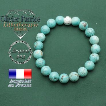 Bracelet perles naturelles rondes de turquoise et boule finition strass anneaux sportifs en argent 925
