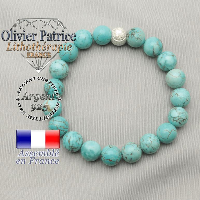 Bracelet de turquoise naturelle pierre de litho pour purifier vos énergies et sourire strass argent 925