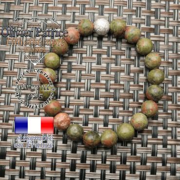 Bracelet naturel en unakite et strass uni brillant argent 925 en 8 mm