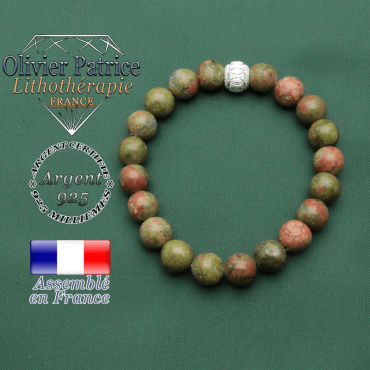 Bracelet avec des anneaux en argent 925 gravés et strass sur unakite naturelle pour la grossesse