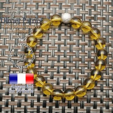 Bracelet naturel strass unie en argent 925 et citrine